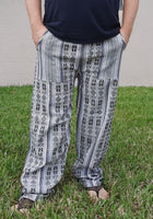 Hippie Clothes | Womens Pants | Mens Pants | Yoga Pants Size XL | White Black Tribal Pants
