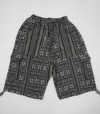Woven Boho Shorts Size L | Black White Hippie Shorts | Tribal Shorts | Unisex Shorts