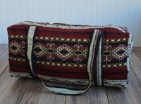 Luggage | Red Beige Large Hippie Duffel Bag | Bohemian Duffel Bag | Tribal Gym Bag | Yoga Bag