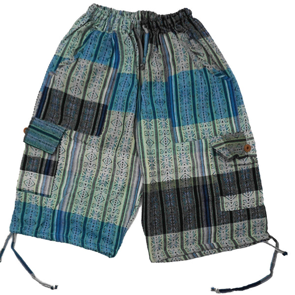 Woven Boho Shorts Size M |  Light Blue Teal Hippie Shorts | Tribal Shorts | Unisex Shorts