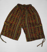 Boho Clothing | Rasta Boho Shorts Size L | Hippie Shorts | Tribal Shorts | Unisex Cargo Shorts | Soft Shorts | Father's Day Gift
