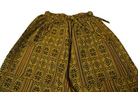 Boho Pants Size L | Yellow Brown Mens Hippie Pants | Womens Pants with Pockets