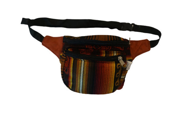 Fanny Pack | Boho | Halloween | Gift for Her | Brown with Dark Lines Festival Fanny Pack | Hippie Waist Pack | Tribal Hip Bag