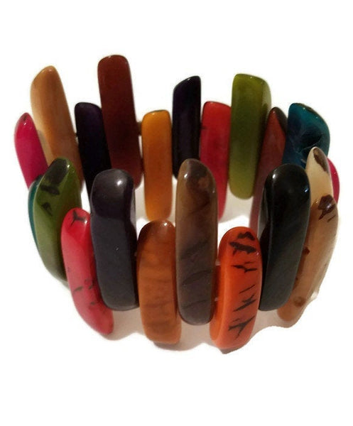 Colorful Bracelet | Stretchy Bracelet | Tagua Jewelry | Eco friendly Bracelet
