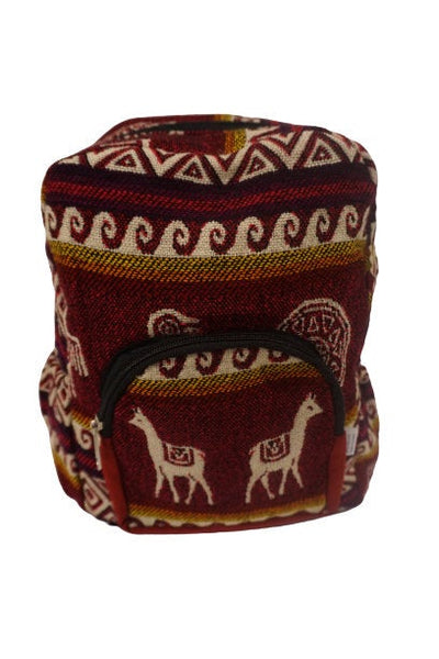 Mini Backpack | Small Backpack | Hippie Backpack | Festival Backpack | Fair Trade | Maroon Beige | Llama