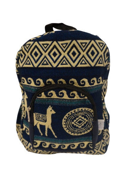 Mini Backpack | Small Backpack | Hippie Backpack | Festival Backpack | Fair Trade | Blue Beige | Llama