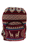 Backpack Women  | Travel Bag | Hippie Backpack | Mens Backpack | Boho Backpack |  Pink Red | Llama Backpack