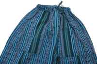 Woven Boho Pants Size L | Hippie Pants | Turquoise Purple Tribal Pants | Unisex Pants | Father's Day Gift