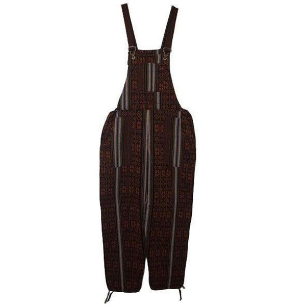 Black Orange Boho Overalls Size L | Woven Hippie Overalls | Tribal Overalls with pockets