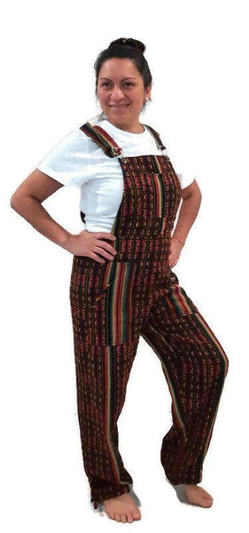 Bohemian Clothes | Womens Boho Overalls Size M | Mens Hippie Overalls | Rasta Overalls with pockets