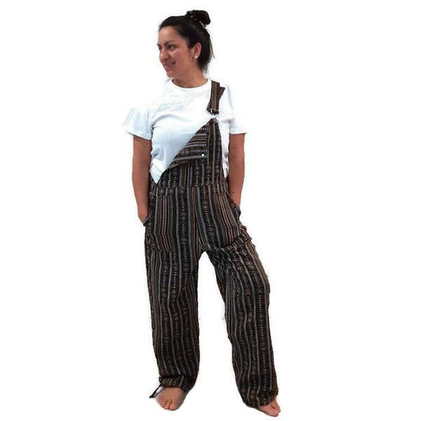 Bohemian Clothes | Boho Overalls Size M | Hippie Womens Jumpsuit | Black Brown Mens Overalls with pockets