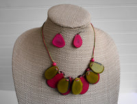 Jewelry Set | Statement Necklace & Earrings | Tagua Jewelry | Layer Necklace | Pink Green