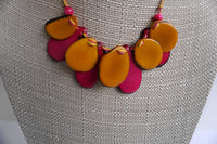 Jewelry Set |  Statement Necklace & Earrings | Tagua Jewelry | Eco friendly Layer Necklace | Yellow Pink