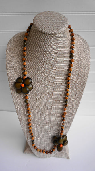 Green Mustard Long Necklace | Tagua Jewelry | Eco-friendly Vegetable Ivory Flowers Acai Seeds
