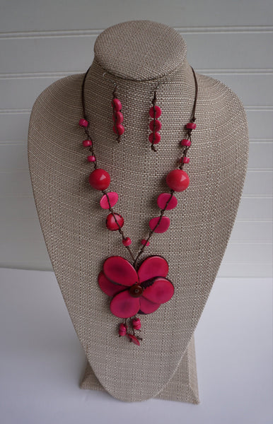 Pink Flower Statement Necklace and Earrings | Tagua Jewelry | Ecofriendly Vegetable Ivory Necklace
