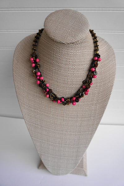 Pink Necklace | Tagua Jewelry | Eco-friendly Vegetable Ivory Necklace with Coconut Shell