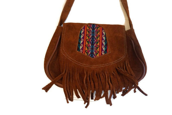 Suede Leather Bag | Tribal Shoulder Handbag | Minimalist Bag | Orange Burnt Hippie Bag with Fringes