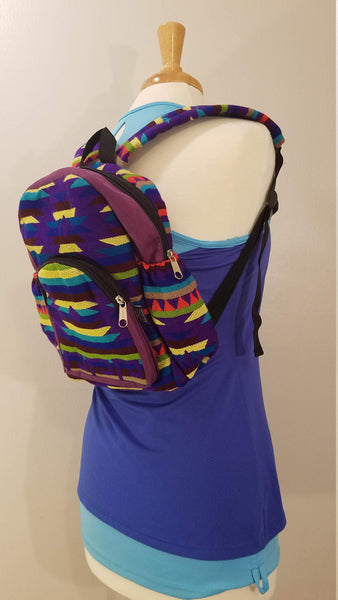 Mini Backpack | Small Backpack | Hippie Backpack | Festival Backpack | Fair Trade | Purple Green