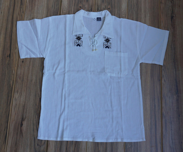 Boho Men's Shirt Size M | Hippie Shirt | Embroidered V Neck Man Shirt | White Cotton Funky Shirt