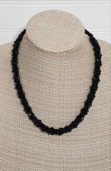 Black Twisted Statement Necklace | Beaded Necklace