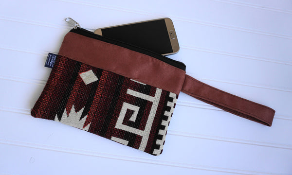 Burnt Orange Beige Wristlet Ethnic Bag Tribal Wristlet | Cellphone Wallet | Hippie Wristlet | Boho Wristlet