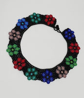Multicolored Flowers Statement Necklace | Bugle Beaded Necklace |