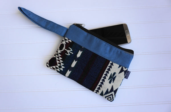 Light Blue Beige Wristlet Ethnic Bag Tribal Wristlet | Cellphone Wallet | Hippie Wristlet | Boho Wristlet