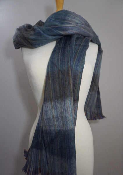Alpaca Wrap | Chunky Over sized Scarf | Blue Brown Striped Winter Scarf | Alpaca Shawl
