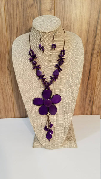 Purple Flower Statement Necklace and Earrings | Tagua Jewelry | Eco-friendly Vegetable Ivory Necklace