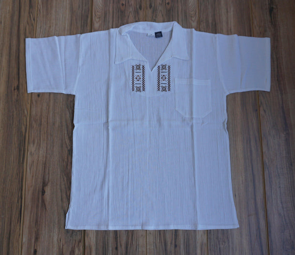 White Cotton Boho Men's Shirt Size M | Hippie Shirt | Brown Embroidered Shirt | V Neck Man Shirt | Shirt with a pocket