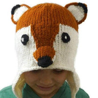 Christmas Gift  | Fox Knitted Beanie Hat with Earflaps | Animal Beanie Hat | Wool Winter Hat