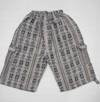 Boho Clothing | Woven Boho Shorts Size XL | White Blue Hippie Shorts | Tribal Shorts | Unisex Shorts