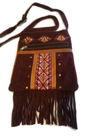 Suede Leather Bag | Tribal Shoulder Handbag | Minimalist Bag | Burgandy Hippie Bag with Fringes