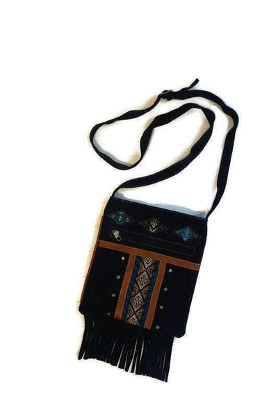 Suede Leather Bag | Tribal Shoulder Handbag | Messenger Bag |Blue Hippie Bag with Fringes
