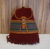Suede Leather Backpack | Tribal Shoulder Handbag | Minimalist Boho Bag | Red Hippie Backpack with Fringes