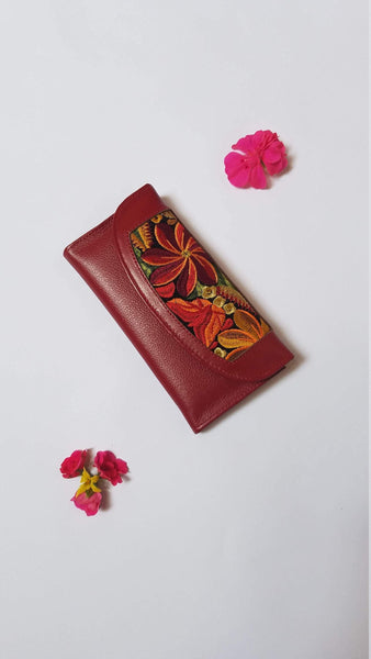 Red | Leather | Wallet | Handmade | Gift for Her | with Embroidered Flowers for Women