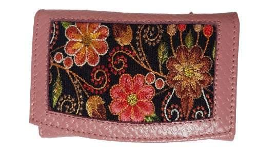 Light Pink Small Wallet with Embroidered Colorful Flowers for Women / Credit Card Holder / Genuine Leather Money Wallet with Snap Closure