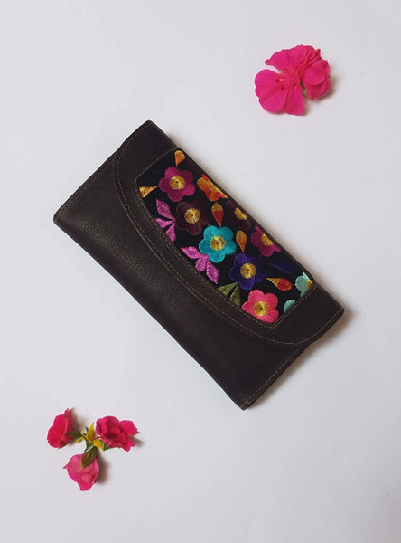 Dark Brown Wallet Clutch with Embroidered Colorful Flowers for Women / Credit Card Holder / Genuine Leather Money Wallet with Snap Closure