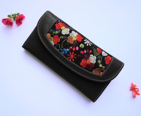 Dark Brown Wallet Clutch with Embroidered Red Colorful Flowers for Women / Credit Card Holder / Genuine Leather Money Wallet Snap Closure