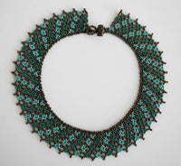 Turquoise Brown Statement Necklace | Wide Bugle Beaded Necklace | Chunky Collar | Floral Necklace