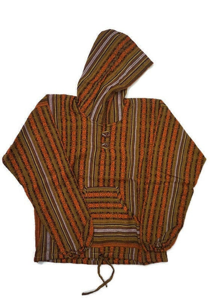 Boho Hoodie Size L | Orange Brown Hippie Pullover | Tribal Unisex Jacket | Ethnic Sweatshirt | Woven Jacket with Hoodie