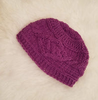 Christmas Gift | Purple Knitted Beanie Hat with White Flower | One size Beanie Hat | Wool Winter Hat