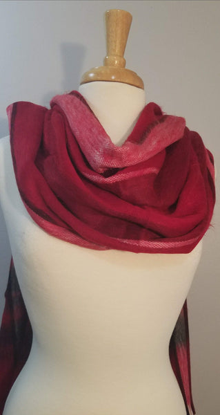 Red Black Alpaca Wrap | Chunky Over sized Scarf | Winter Scarf | Alpaca Shawl