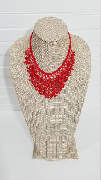 Red Statement Necklace | Wide Beaded Necklace | Tribal Native Collar | Cascade Necklace