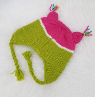 Christmas Gift | Green Pink Owl Knitted Beanie Hat with Earflaps | Animal Beanie Hat | Wool Winter Hat