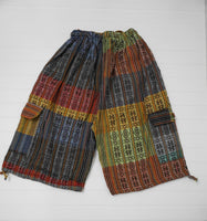 Boho Clothing | Woven Boho Shorts Size M  | Hippie Shorts | Tribal Shorts | Multicolored Unisex Cargo Shorts