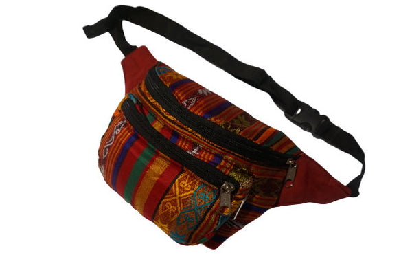 Fanny Pack | Hippie Boho Hip Bag | Hot Orange Multicolor | Halloween | Gift for Her