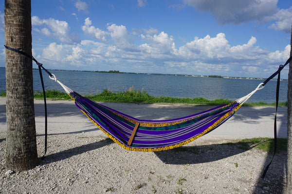 "Camping Hammock | Bohemian Hammock | One Person Hammock | Purple Yellow Outdoor Hammock | Home Decor | ""Florida"" Hammock"