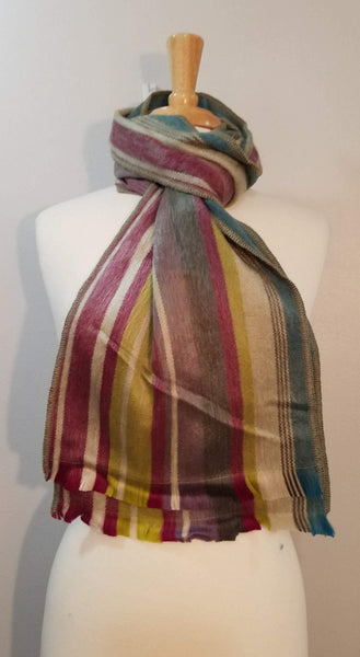 Alpaca Scarf | Striped Scarf | Handcrafted Lime Green & Burgundy Scarf | Winter Scarf