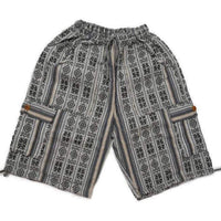 Boho Clothing | Boho Shorts Size L | Hippie Woven Shorts | White Black Tribal Shorts | Unisex Cargo Shorts | Soft Shorts